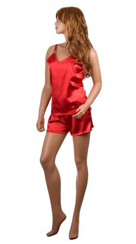 8b48fb205f7874 Personalizowana satynowa piżamka - koszulka i spodenki, ozdobiona haftem,  kolor czerwony