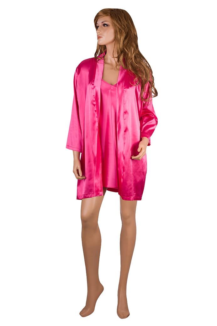 930276c7f0e8f9 Spersonalizowany komplet z satyny, szlafrok i koszulka nocna z własnym  haftem, różne kolory ...